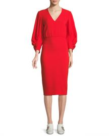 Lela Rose V-Neck Full-Sleeve Fitted Crepe Cocktail Dress at Neiman Marcus