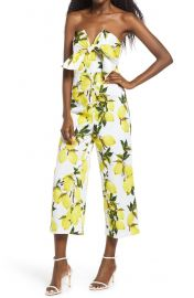 Lemon Print Tie Jumpsuit at Nordstrom