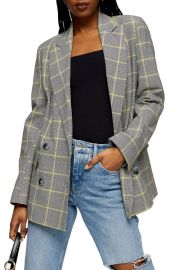 Lemon Check Double Breasted Blazer at Nordstrom