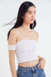 Lena Smocked Off-The-Shoulder Cropped Top at Urban Outfitters