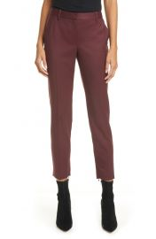 Leo Slim Stretch Wool Pants in Burgundy by Nili Lotan at Nordstrom