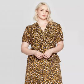 Leopard Print Short Sleeve Deep V-Neck Wrap Top by WhoWhatWear at Target