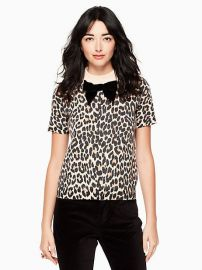 Leopard Print Velvet Bow Sweater at Kate Spade