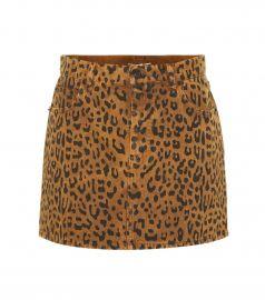 Leopard Denim Miniskirt by Saint Laurent at My Theresa