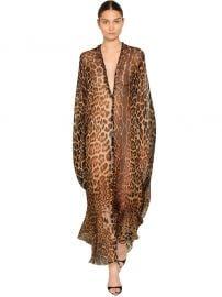 Leopard Georgette Caftan Dress by Saint Laurent at Luisaviaroma