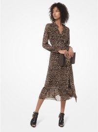 Leopard Georgette Wrap Dress at Michael Kors