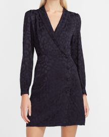 Leopard Jacquard Blazer Dress at Express