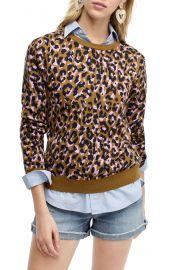 Leopard Print Crewneck Sweater at Nordstrom