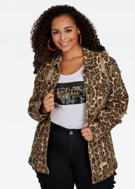 Leopard Print Denim Jacket at Ashley Stewart