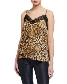 Leopard Print Lace-Trim Cami Top at Last Call