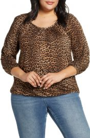 Leopard Print Peasant Top at Nordstrom