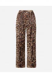 Leopard-Print Satin Pajama Pants at Orchard Mile
