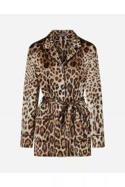 Leopard-Print Satin Pajama Shirt at Orchard Mile