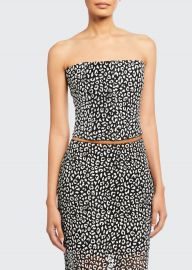 Leopard-Print Strapless Crop Top by Carmen March at Bergdorf Goodman