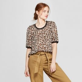 Leopard Print Woven Short Sleeve T-Shirt by A New Day at Target at Target