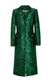 Leopard Satin Jacquard Coat at Moda Operandi
