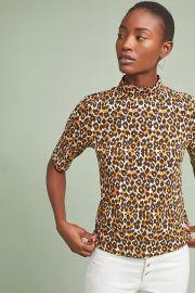 Leopard Short-Sleeved Turtleneck at Anthropologie