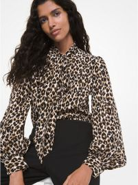 Leopard Silk Bow Blouse  at Michael Kors