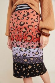 Leopard Sweater-Knit Pencil Skirt at Anthropologie