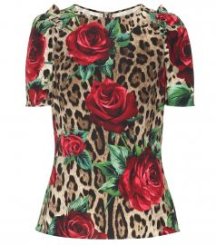 Leopard and floral-printed top by Dolce & Gabbana at Mytheresa