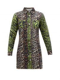 Leopard and zebra-print cotton-denim shirtdress at Matches