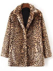 Leopard faux fur coat at Rose Gal