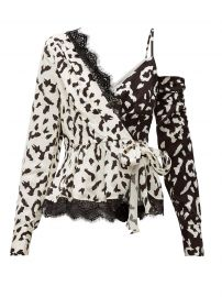 Leopard-print asymmetric satin top at Matches