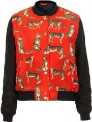 Leopard print bomber jacket at Topshop
