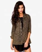 Leopard print cargo jacket at Forever 21