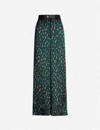 Leopard-print high-rise wide crepe trousers at Selfridges