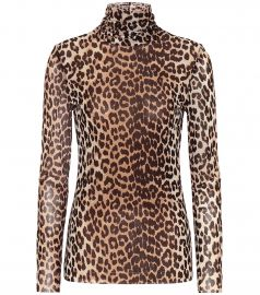Leopard-print mesh top at Mytheresa