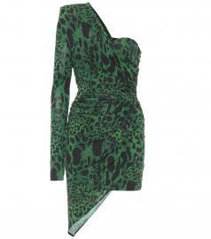 Leopard-print one-shoulder minidress at Mytheresa