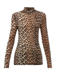 Leopard-print roll-neck mesh top at Matches