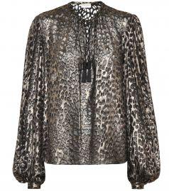 Leopard-print silk-blend blouse at Mytheresa