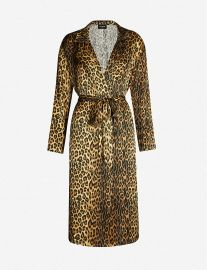 Leopard print silk-satin kimono at Selfridges