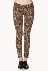 Leopard print skinny jeans at Forever 21