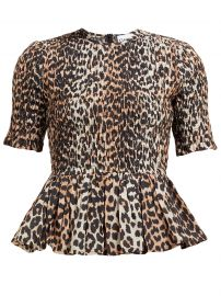 Leopard-print smocked cotton-blend top at Matches