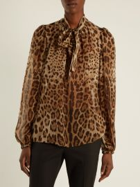 Leopard-print tie-neck silk-chiffon top at Matches