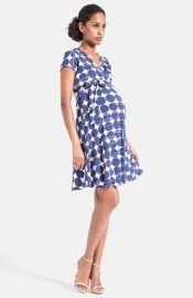 Leota Cap Sleeve Faux Wrap Maternity Dress in Dots at Nordstrom