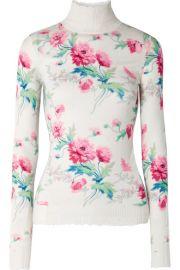 Les R  veries - Distressed floral-print cashmere turtleneck sweater at Net A Porter