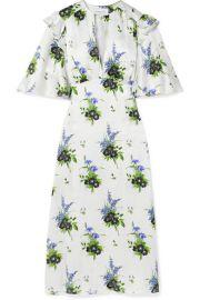 Les R  veries - Ruffled floral-print silk-satin midi dress at Net A Porter