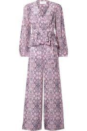 Les R  veries - Ruffled snake-print silk crepe de chine wrap-effect jumpsuit at Net A Porter