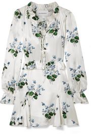 Les R  veries - Tie-front ruffled floral-print silk-satin mini dress at Net A Porter