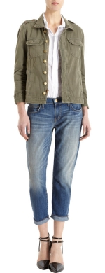 Leslie's army jacket at Barneys