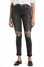 Levi  x27 s   Ripped Curvy Skinny Jeans  Washed Black Denim    Nordstrom at Nordstrom