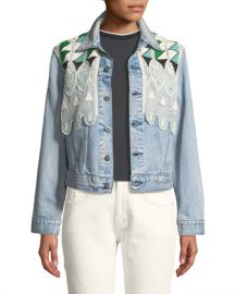 Levi  x27 s Made  amp  Crafted Boyfriend Denim Trucker Jacket w  Embroidery at Neiman Marcus