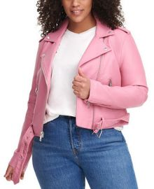 Levi s Trendy Plus Size  Faux-Leather Belted Moto Jacket   Reviews - Coats - Plus Sizes - Macy s at Macys