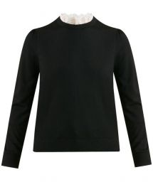 Levina Eyelet Trim Sweater by Veronica Beard at Veronica Beard