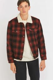 Levis Burnt Orange Plaid Sherpa Jacket at Urban Outfitters