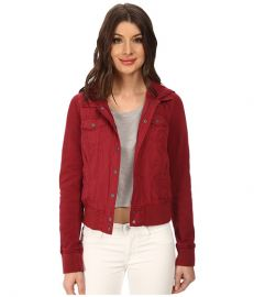 Levis Mixed Media Fashion Trucker w Jersey Sleeve and Hood Cabernet at Zappos